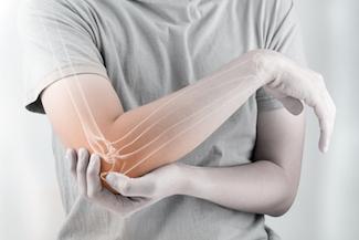 elbow bones injury white background